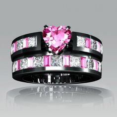 Heart Cut Created Pink Sapphire With and Diamond 18K Rhodium Plating 925 Sterling Silver Women's Engagement Ring / Wedding Ring Set