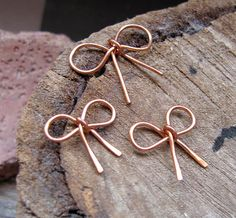 3 Copper Bow Charms  Metal Bow Connectors  by NadinArtGlass, $12.00