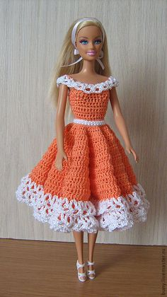 crochet patterns for barbie doll clothes – Knitting Tips Crochet Doll Dress, Crochet Barbie Clothes, Crochet Doll Pattern, Knitted Dolls, Crochet Patterns, Crochet Ideas, Knit Dress, Barbie Clothes Patterns, Doll Dress Patterns