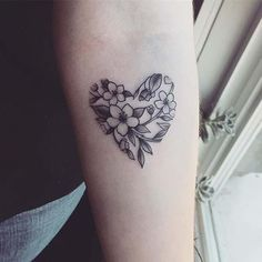 10 Beautiful Flower Tattoo Ideas for Women: #10. FLORAL HEART DESIGN