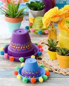 Arts and Crafts Store - Sombrero clay pots – Cinco de Mayo – Mexican party – summer decor - Mexican Birthday Parties, Mexican Fiesta Party, Fiesta Theme Party, Taco Party, Party Themes, Party Ideas, Mexican Party Decorations, Terra Cotta, Arts And Crafts