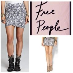 "Spotted while shopping on Poshmark: ""Free People Grey Print Ruched Mini Skirt.  NWT.""! #poshmark #fashion #shopping #style #Free People #Dresses & Skirts"