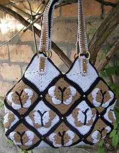 Crochet golden bag Butterflies