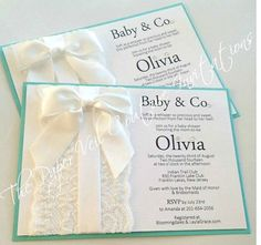 Tiffany Vintage Lace and Bow Invitation by thepaperveilcouture Baby & Co. Invitations #tiffanyandcompanyinvitations