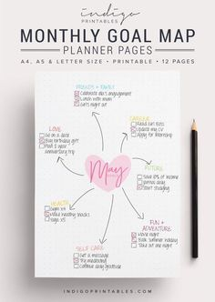 Goal Planner Pack, 12 Pages, Printable | Created by @IndigoPrintables Your goal planner will help you map out your goals for the year ahead and