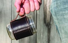 make a canning jar a travel mug with this handy leather holdster