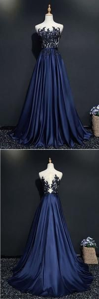 blue party dress round neck evening dress satin applique prom dress · Fantasy · Online Store Powered by Storenvy Off Shoulder Evening Dress, Sexy Evening Dress, Lace Evening Dresses, Evening Gowns, Prom Dresses With Sleeves, Strapless Dress Formal, Formal Dresses, Long Dresses, Applique Wedding Dress