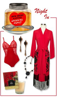 Show your sweetie some love this Valentine's Day with a sultry night in. Our gorgeous black and red Flapper Robe layered over a spicy Huit bodysuit sets the mood for romance. The Dynasty Necklace and Navette Earrings by Jan Michaels add glamour to the ensemble, and the delicious Seda Red Amber Boxed Candle creates a steamy ambience. Ooh la la!