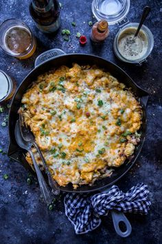 Buffalo Chicken Casserole with Tahini Ranch Dressing is an easy, cheesy dish perfect for dinner or game day! Make Ahead Meals, Easy Weeknight Meals, Meals For Two, Easy Dinners, Main Meals, Buffalo Chicken Casserole, Best Side Dishes, Main Dishes, Easy Chicken Recipes