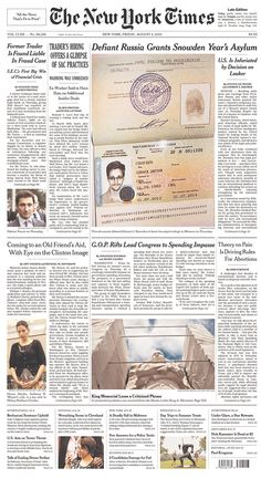 Snowden's asylum papers from Russia atop our NYT front page
