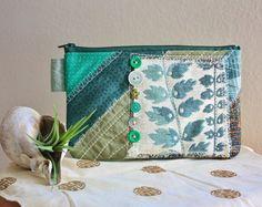 vintage textile patchwork pouch