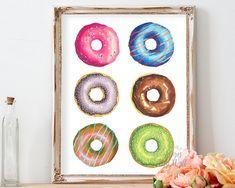 Donut printable, kitchen food wall art decor, doughnut, donut decor, instant download, 8x10