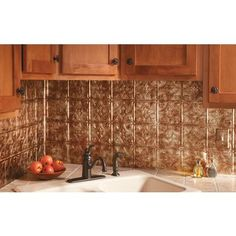 Fasade - Traditional 1 Bermuda Bronze Backsplash - F50-17 - Home Depot Canada   Can be applied over ceramic tile. Good reviews.  Can't scrub or can remove finish.