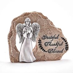 ANGEL ON ROCK- GRATEFUL-THANKFUL-BLESSED Thankful And Blessed, Grateful, Silver Wedding Favors, Christmas Angel Ornaments, Christmas Decor, Fall Wedding Decorations, Wedding Centerpieces, Purple Satin, Baby Shower Favors