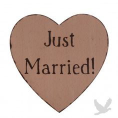"""Distressed Wood Burned """"Here Comes The Bride - Just Married"""" Heart Shaped Sign"""