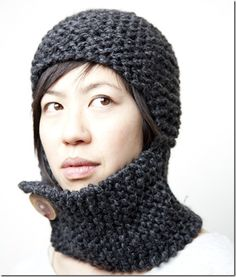 Garter stitch and chic. Looks like the neck warmer could be pulled up to protect chin and mouth - not nose, though. Diy Crochet And Knitting, Knitting Patterns Free, Free Knitting, Crochet Hats, Knitting Projects, Crochet Projects, Garter Stitch, Yarn Crafts, Ideas