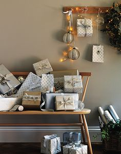 Christmas styling with an Ercol love seat. Gorgeous. From The White Company's Christmas Look Book (thewhitecompany.com).