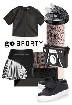 """Leather Tshirt"" by skad183 on Polyvore featuring T By Alexander Wang, Jay Ahr, Karl Lagerfeld, AS29, Leather, blackandwhite, sneakers and sportystyle"