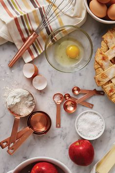 We've got everything from measuring cups and whisks to flour and eggs. Just add Grandma's secret apple pie recipe and you're ready for some fall baking. (And how gorgeous are these copper tools?)