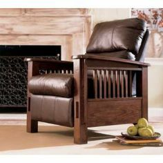 Morgan Leather Mission Recliner $599