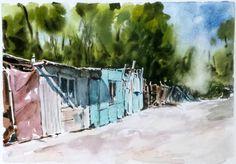 Barrio Tornini en Copiapó. Pintado por el pintor copiapino Juan Carlos Aguirre Carrasco.