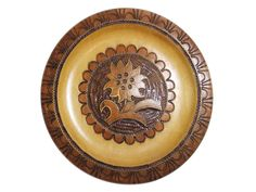 Vintage Polish Highlanders Folk Art Hand Carved Wood Sunflower Plate with Brass Inlay Accents Tabletop Easel Wall Plaque Decor by bohemiangypsychicago on Etsy Vintage Wall Art, Vintage Walls, Hand Carved, Carved Wood, Wall Plaques, Folk Art, Decorative Plates, Carving, Highlanders