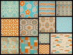 crib sheet fabric.  need to find the DIY instructions for sewing Stokke sheets!  YOU DESIGN Custom 3 piece Crib Bedding Set - Bumper, Skirt and Sheet Aqua, Orange and Gray Retro Rides. $295.00, via Etsy.