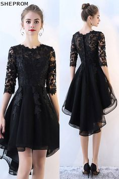 Lace Half Sleeve High Low Black Prom Dress at Shop thousands of dresses ran. Trendy Dresses, Nice Dresses, Short Dresses, Dresses With Sleeves, Sleeve Dresses, Chiffon Dresses, Fall Dresses, Half Sleeves, Long Sleeve Homecoming Dresses