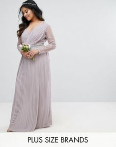 706a729a44e TFNC Plus Wedding Pleated Maxi Dress With Long Sleeves And Lace Inserts  With Embellished Waist