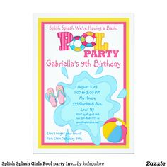 "Splish Splash Girls Pool party Invitation 4.5"" X 6.25"" Invitation Card"