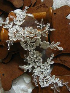 ivory Bridal Applique  Alencon Lace Applique bridal by LaceFun, $4.99