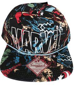 618578647c4 Marvel Comics Logo All Over Print Slouch Snapback Baseball Cap Hat