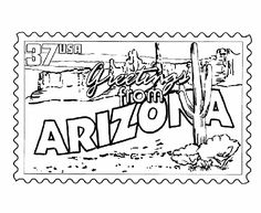 USA-Printables: Arizona State Stamp - US States Coloring Pages