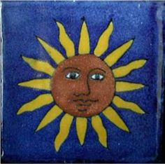 Sun With Face Ceramic Mexican Tile 4″X4″