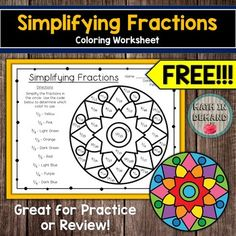 Students will be simplifying fractions. They will look for their reduced fraction in the answer key code and color according to the simplified fraction. Fraction Art, Math Coloring Worksheets, Simplifying Fractions, One Step Equations, Math Lab, Algebraic Expressions, Math Practices, Free Math, Math Lessons