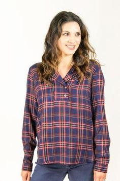2f9dd949373 Jessie Plaid Top with Suede Patches