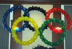 Make the Olympic rings out of balloons