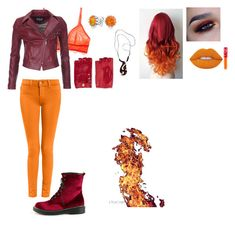 """""""Fire Element Casual"""" by thespine ❤ liked on Polyvore featuring Underella by Ella Moss, Barbour International, Causse, Bling Jewelry, NOVICA, Lime Crime, red, orange, Fire and casualoutfit"""