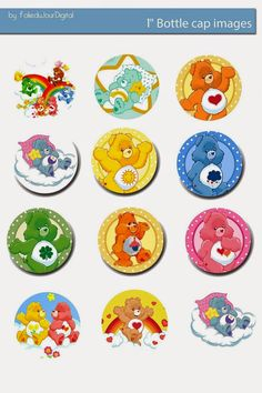 I& sharing free digital bottle cap images I created Care Bear Birthday, Care Bear Party, Teddy Bear Party, Bottle Top Crafts, Bottle Cap Projects, Diy Bottle, Bottle Cap Jewelry, Bottle Cap Art, Bottle Cap Magnets