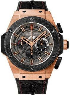 Hublot King Power Automatic Black Dial 18kt Rose Gold Mens Watch