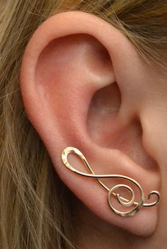 Treble Clef orecchino Pin 14K Gold Filled argento o 14k