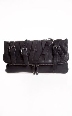 Pierre Balmain Spike-Embellished Black Leather Fold Over Clutch (with crisscross belts detail,metal rivets and double-zip closure).