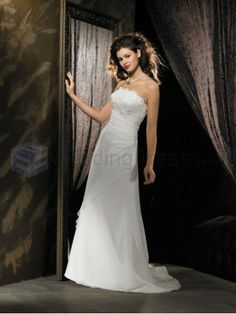A-line Embroidered Bodice Strapless Neckline Sweep Train Wedding Dresses