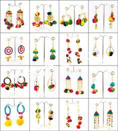 Gypsy Pom Pom Earrings/ Bohemian Pom Pom Earrings/ Wooden Pom Pom Earrings/ Colorful Pom Pom Earrings/ Summer Pom Pom Earrings / Pom Pom and Bead Earrings/ BY Silk Thread Necklace, Thread Jewellery, Tribal Jewelry, Diy Jewelry, Handmade Jewelry, Oxidised Jewellery, Bead Earrings, Fashion Earrings, Indian Ethnic