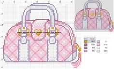 Fancy Pink Purse Cross Stitch or Perler Bead Pattern