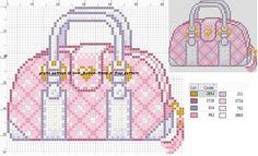 Fancy Pink Purse Cross Stitch or Perler Bead Pattern