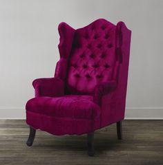 TOV Furniture Madison Pink Velvet Wing Chair