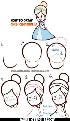 Learn How to Draw Cute Baby Chibi Cinderella - Simple Steps Drawing Lesson Love Drawings, Kawaii Drawings, Doodle Drawings, Cartoon Drawings, Easy Drawings, Doodle Art, Cartoon Illustrations, Pencil Drawings, How To Draw Steps