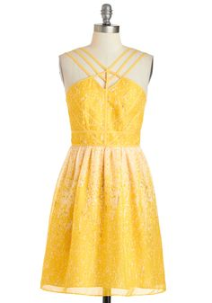Here Comes the Sunglow Dress - Yellow, Print, Party, Sleeveless, Spring, Mid-length, Tan / Cream, A-line, Cutout, Daytime Party, Summer, Beach/Resort