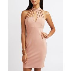 Charlotte Russe Caged Mock Neck Bodycon Dress ($33) ❤ liked on Polyvore featuring dresses, blush, caged bodycon dress, charlotte russe dresses, bodycon dress, thin strap dress and cut out dresses